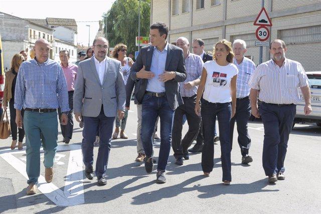 Lambán, Sánchez y Sumelzo en su visita este martes a Alagón (Zaragoza)