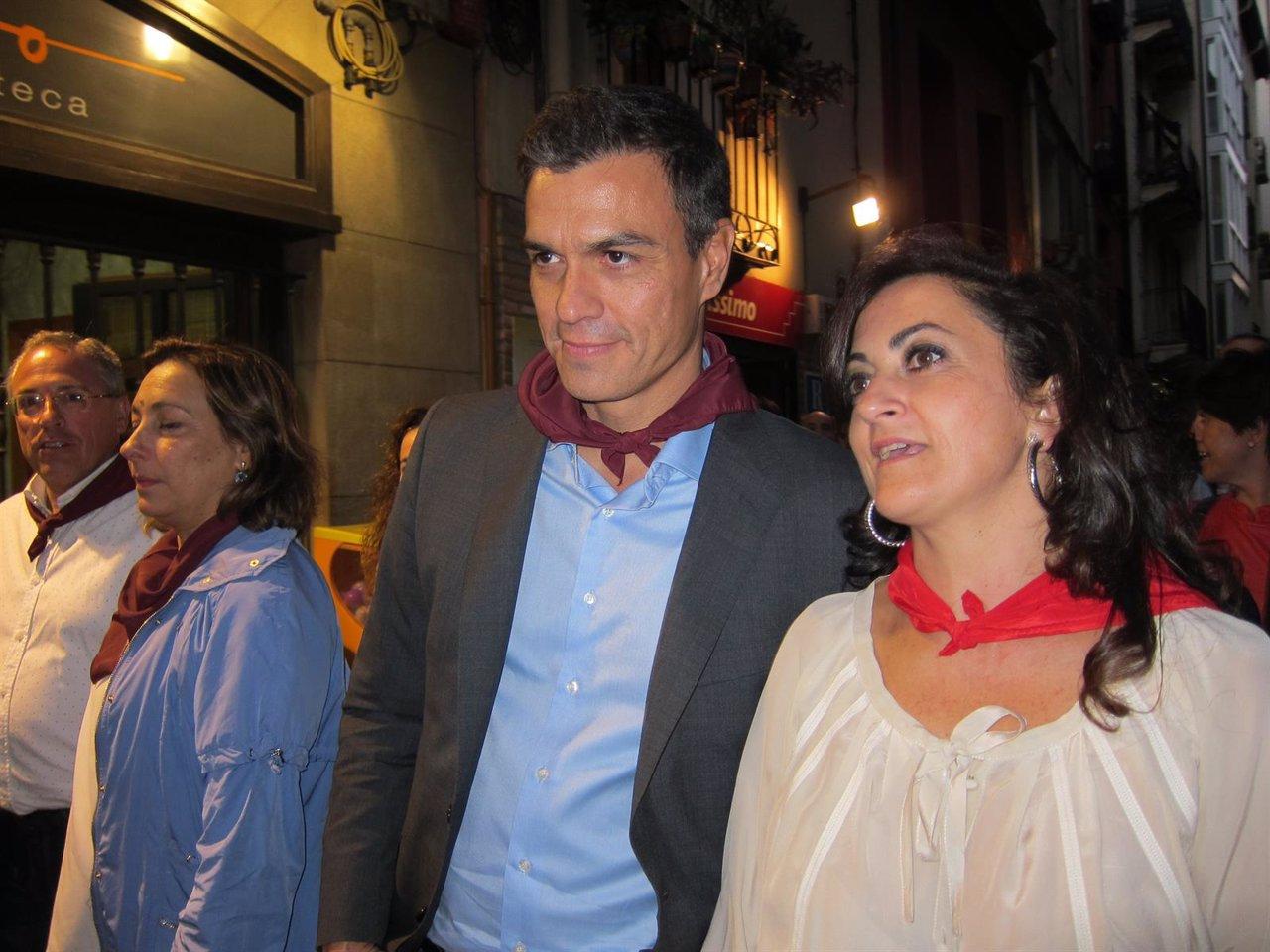 Pedro Sánchez en Logroño junto a Concha Andreu