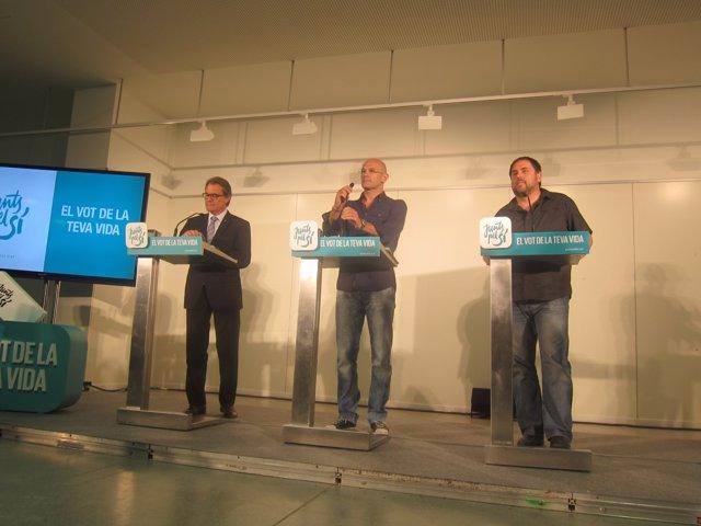 Pte.Artur Mas, Raül Romeva, Oriol Junqueras (Junts pel sí) (Archivo)