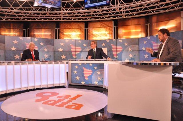 Ministro J.M.G.-Margallo, periodista J.Cuní, O.Junqueras (ERC)