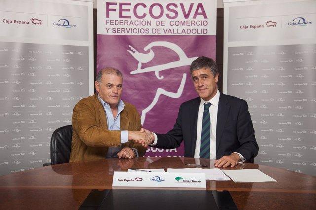 Firma del convenio entre Caja España/Duero y Fecosva