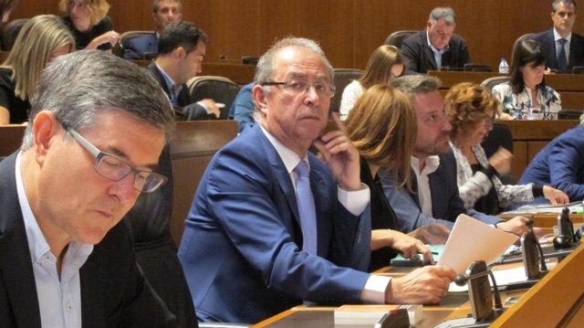 Fernando Gimeno, este jueves en su escaño en las Cortes de Aragón