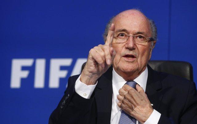 FIFA President Blatter gestures
