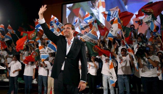 El primer ministro de Portugal, Pedro Passos Coelho, en un acto de campaña