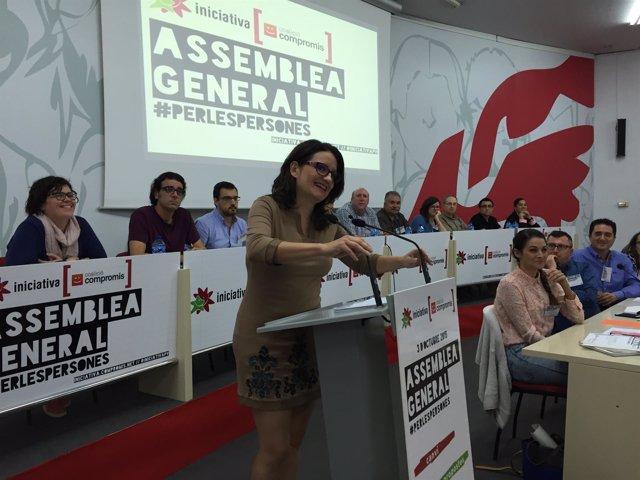 Mònica Oltra durante su intervención en la Asamblea General de Iniciativa