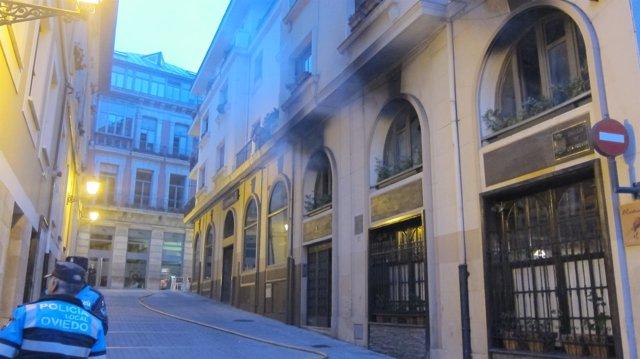 Edificio afectada por el incendio, en el Callejón de los CJ. Huevos.