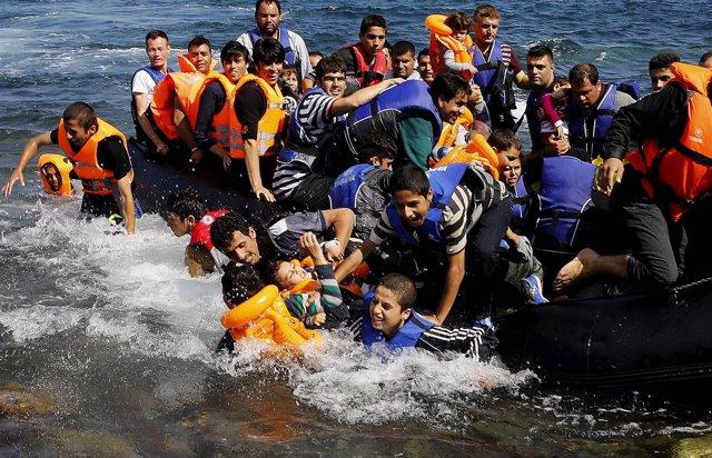 Llegada de refugiados sirios a Lesbos