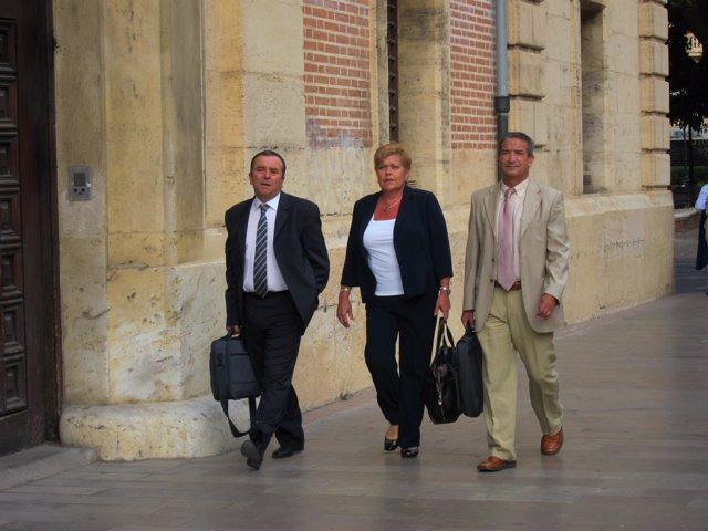 Milagrosa Martínez (centro) a su llegada al TSJCV