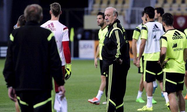 Vicente del Bosque, en una sesión de entrenamiento
