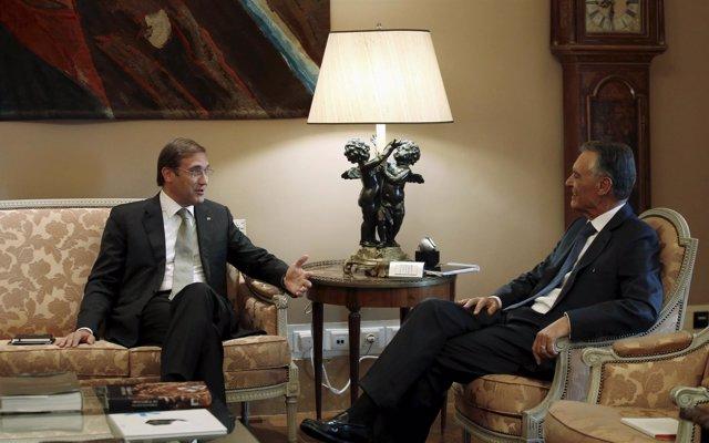 El primer ministrol, Pedro Passos Coehlo, y el presidente, Anibal Cavaco Silva