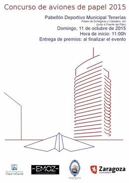 Cartel del concurso de lanzamiento de aviones de papel