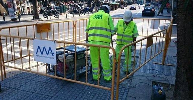 Obreros obras metro de Málaga Alameda Principal Atarazanas