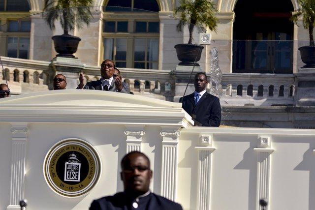 El líder de Nación del Islam Louis Farrakhan durante el 20 aniversario de la MMM