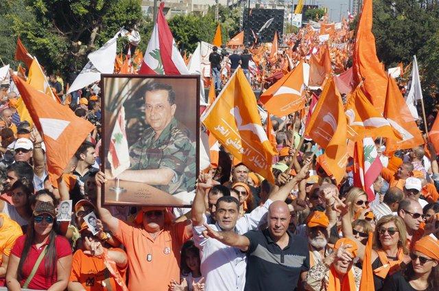 Manifestación del Movimiento Patriótico Libre de Michel Aoun