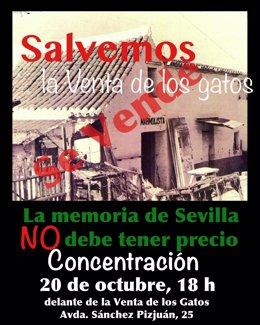 """Cartel de concentración para """"salvar"""" la Venta de los Gatos"""