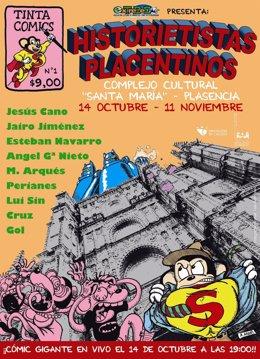 Cartel de la exposición 'Historietistas placentinos'