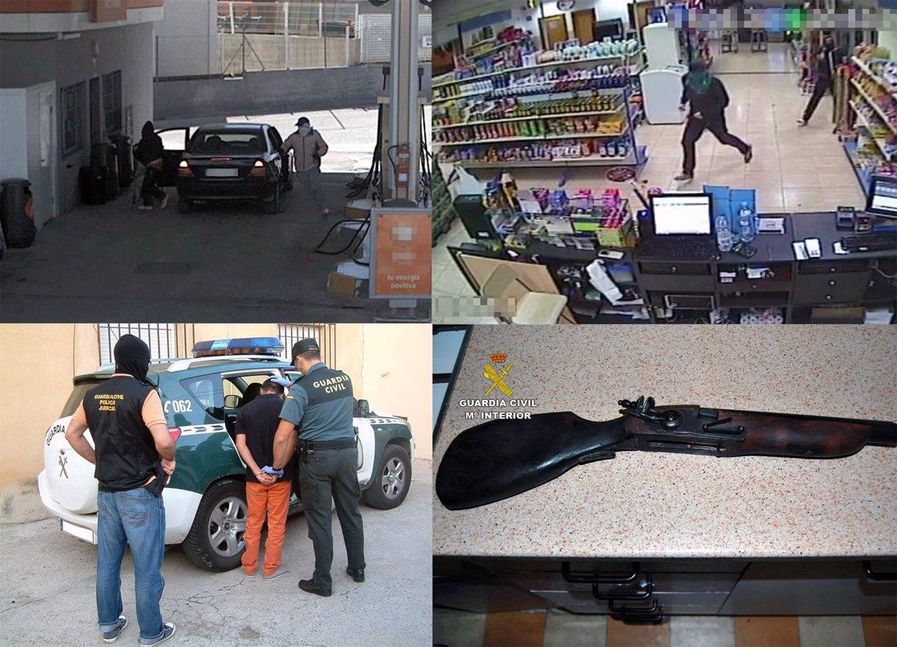 Imagen de los atracos, uno de los detenidos y una de las armas intervenidas