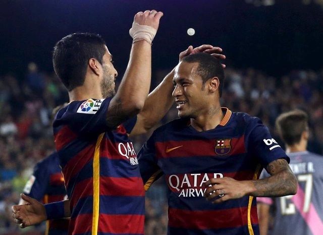 Neymar y Suárez en la victoria ante el Rayo Vallecano
