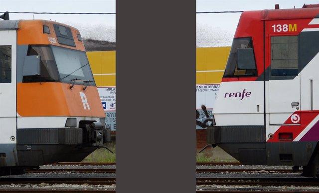 Trenes de Rodalies con la pintura de la Generalitat y la de Renfe