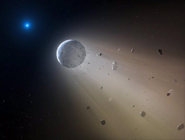 Estrella de la muerte destruyendo un planeta