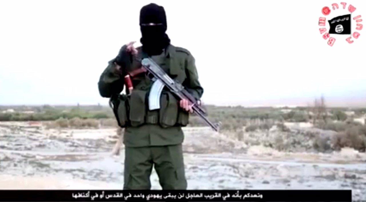 Miliciano de Estado Islámico en un vídeo en hebreo