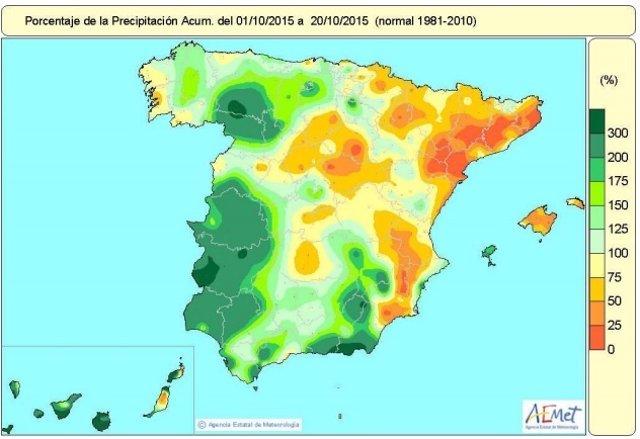Distribución de las lluvias en España entre el 1 y el 20 de octubre de 2015