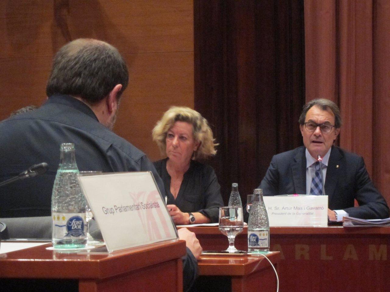 Artur Mas y Oriol Junqueras en el Parlament