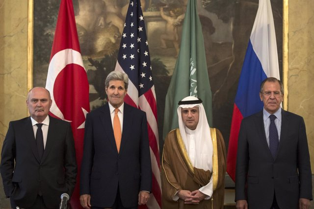 Los ministros de Exteriores de Estados Unidos, Rusia, Arabia Saudí y Jordania