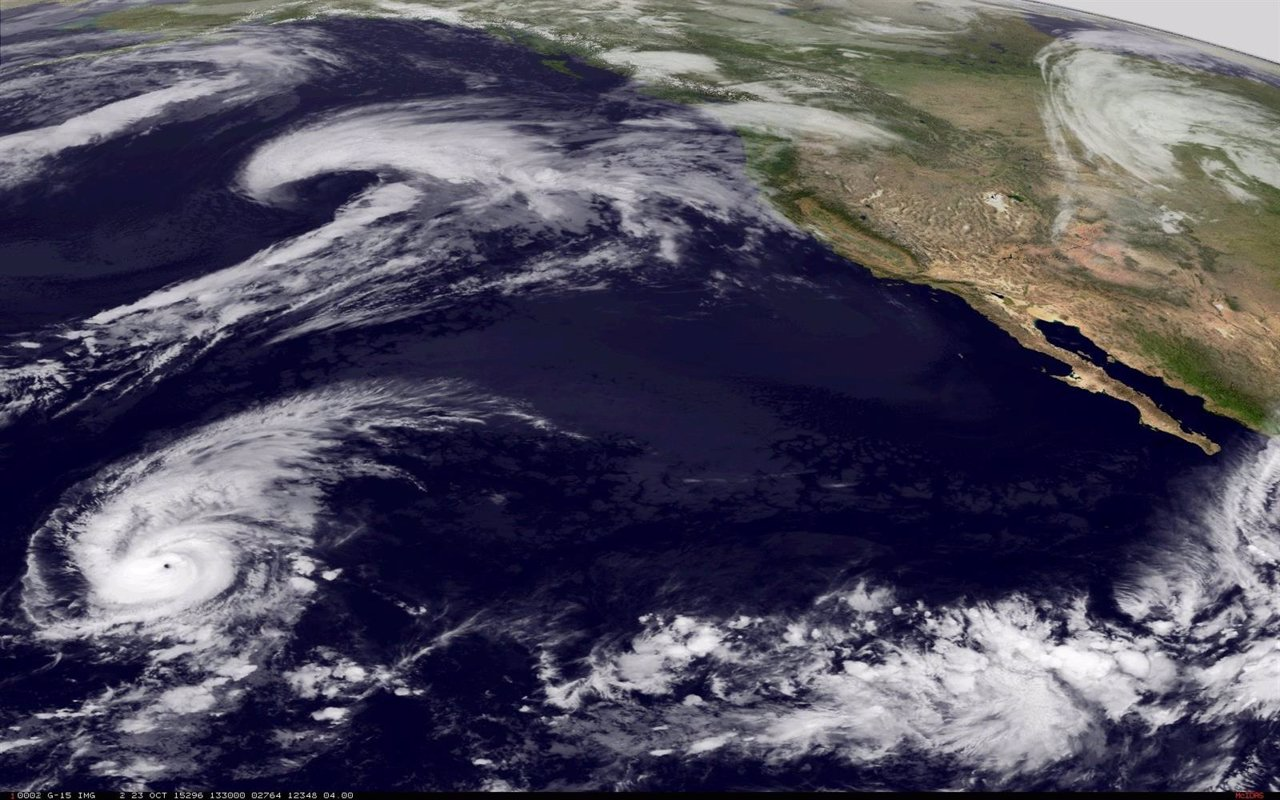 Hurricane Patricia approaches the western coast of Mexico in this NASA handout s