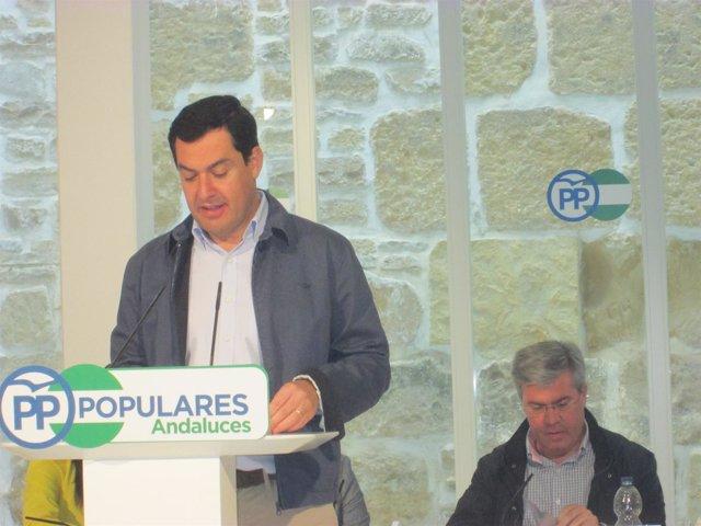 Juanma Moreno en su intervención en el Ágora Rural del PP-A
