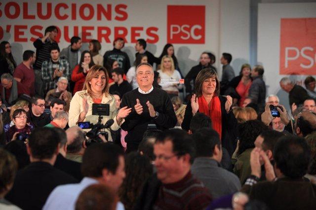 Susana Díaz y Pere Navarro en un acto del PSC