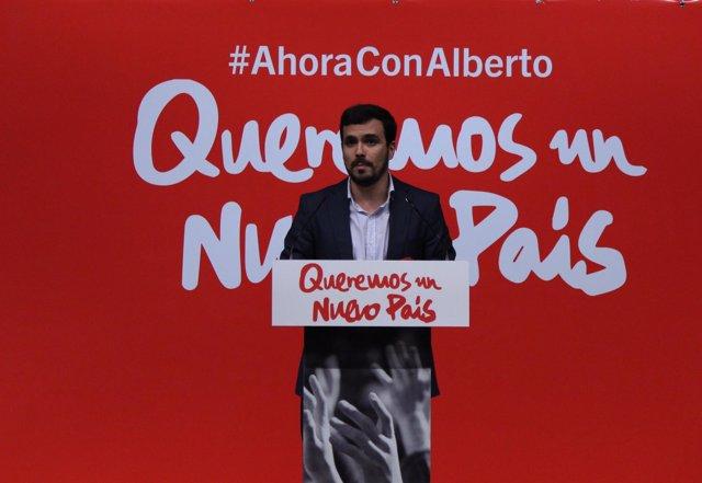 Alberto Garzón en la presentación de su candidatura