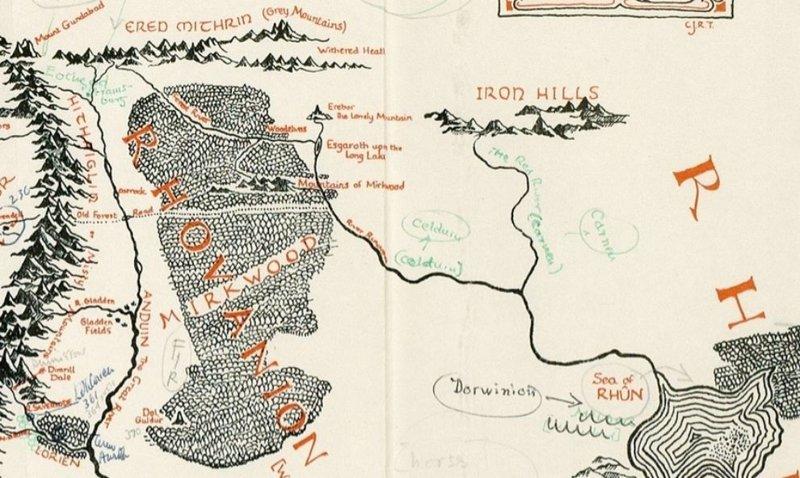 Hallado un mapa inédito de la Tierra Media con anotaciones de Tolkien