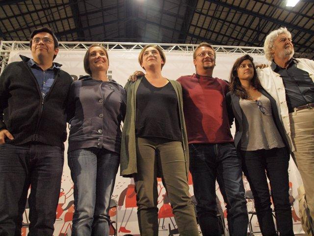 G.Pisarrello, M.Sibina, A.Colau, X.Domènech, O.Rodríguez y X.M. Beiras