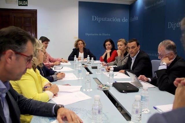 El presidente de la Diputación de Huelva, Ignacio Caraballo, Descubrimiento.