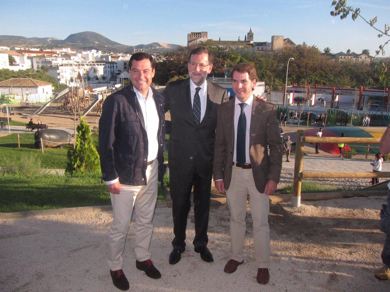 Mariano Rajoy con Juanma Moreno y Fernando Priego
