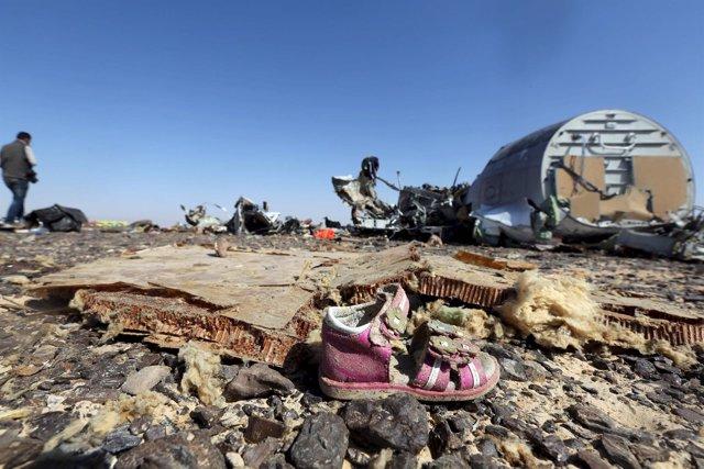 Restos del avión ruso estrellado