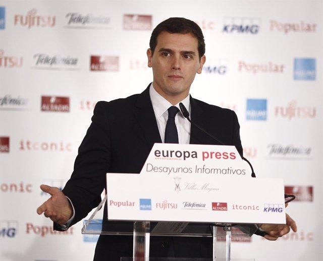Albert Rivera en los Desayunos Informativos de Europa Press