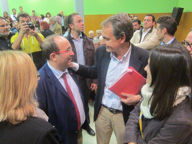 Miquel Iceta (PSC) y José Luís Rodríguez Zapatero (PSOE)