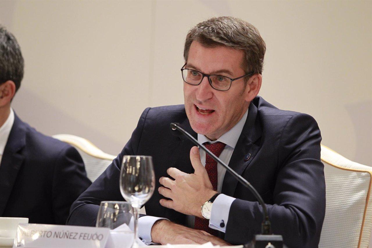 Alberto Núñez Feijóo en una conferencia para la Cámara de Comercio de EEUU
