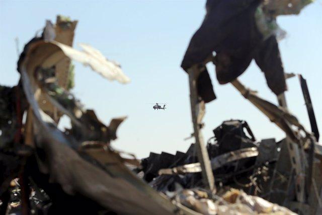 Restos del avión ruso estrellado en el Sinaí