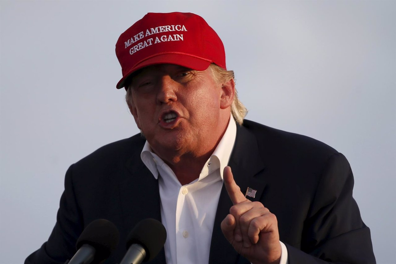U.S. Republican presidential candidate Donald Trump speaks on the USS Iowa in Sa