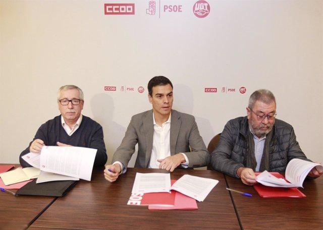 Pedro Sánchez se reúne con Cándido Méndez e Ignacio Fernández Toxo