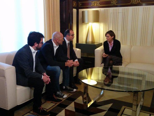 Forcadell, se reúne con JxSí: P.Aragonés, R.Romeva y J.Turull