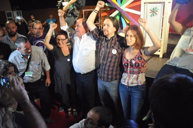 Lluís Rabell (Catalunya sí que es pot) Pablo Iglesias (Podemos)