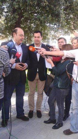 El presidente del PP-A, Juanma Moreno, en Granada