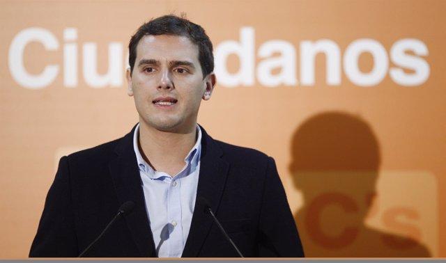 Albert Rivera en una rueda de prensa en Madrid