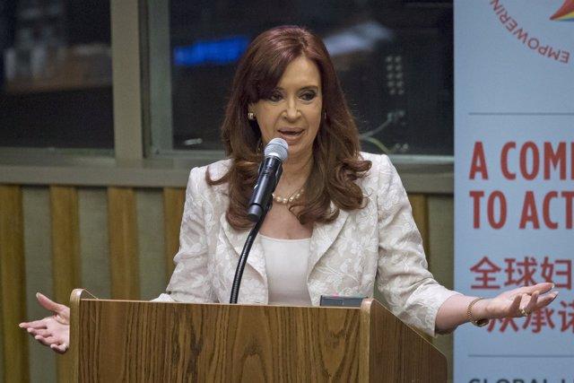 Argentina's President Cristina Fernandez de Kirchner speakes at the Global Leade