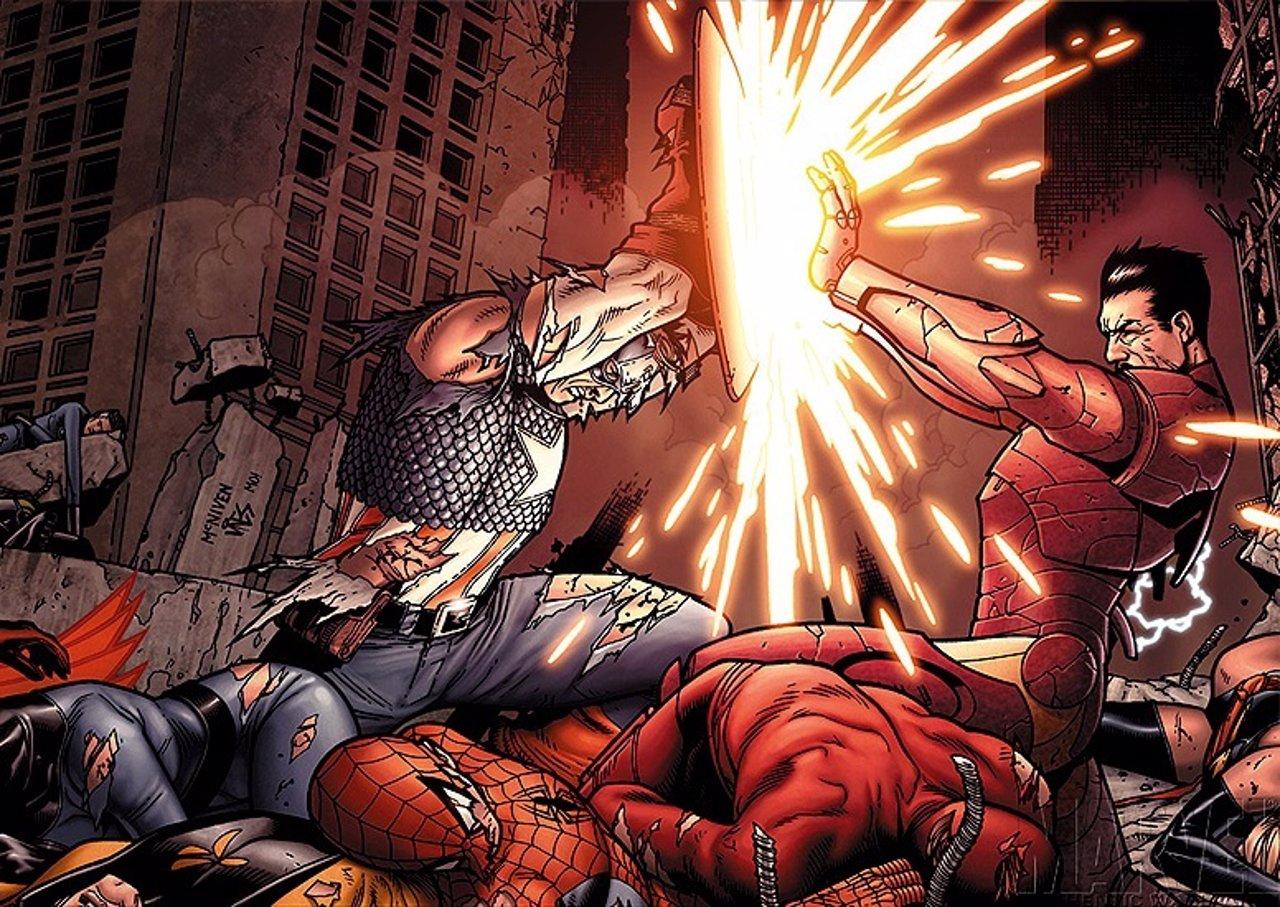 Capitán América enfrentándose a Iron Man en los cómics de Marvel