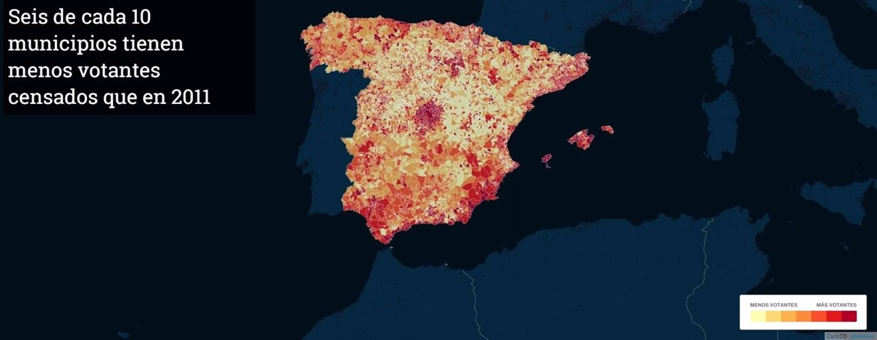 Censo de votantes por municipios para las elecciones